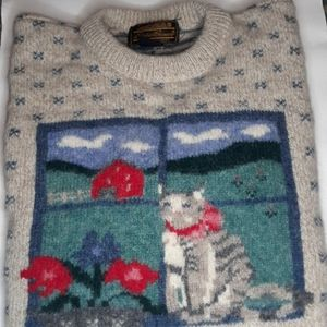 Vintage 1989 Eddie Bauer Wool Blend Cat Sweater